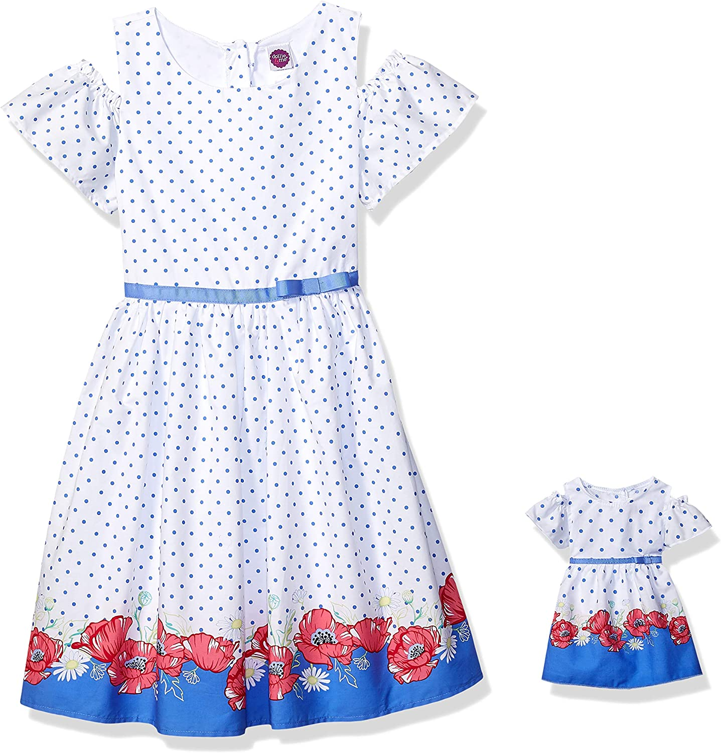 Dollie & Me Cold Shoulder Dress Set with Matching Outfit-Girl & 7 Inch  Doll Clothes, White, 7