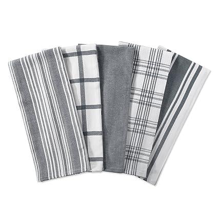 amazon com dii kitchen dish towels gray 18x28 ultra absorbent rh amazon com