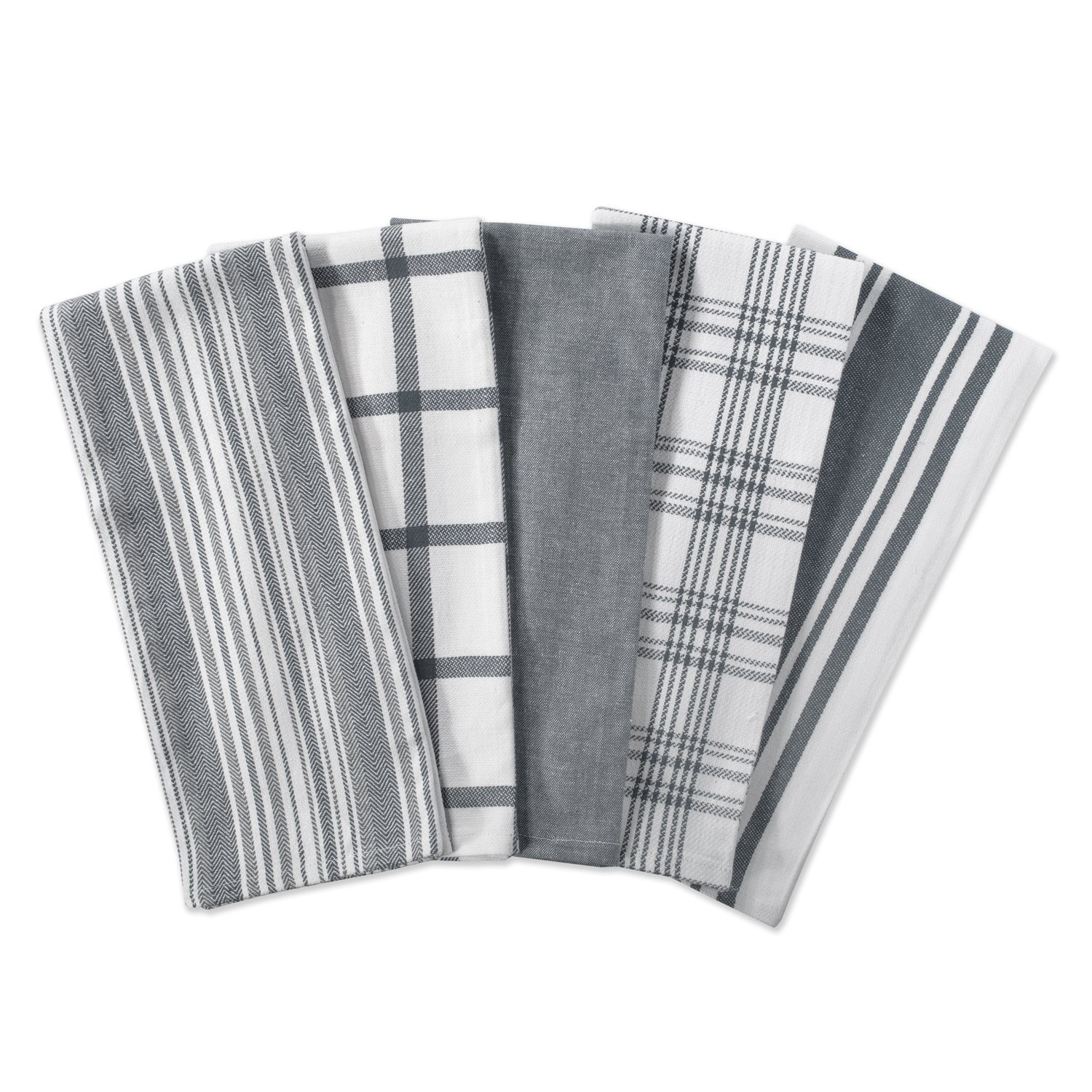 DII Kitchen Dish Towels (Gray, 18x28''), Ultra Absorbent & Fast Drying, Professional Grade Cotton Tea Towels for Everyday Cooking and Baking -  Assorted Patterns, Set of 5