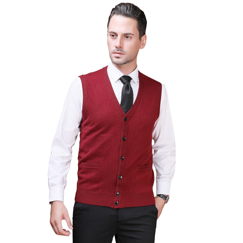 Zelta Men's Knitted Sweater Button Down Sleeveless Cardigan Waistcoat