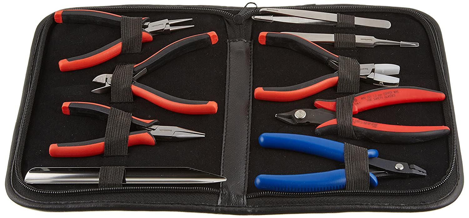 9-Piece Beadsmith Deluxe Jewelry Pliers Ergonomic Tool Kit with Case Beadaholique ER9SET