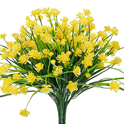 Amazon e hand artificial flowers fake cemetery yellow daffodils e hand artificial flowers fake cemetery yellow daffodils outdoor greenery shrubs plants plastic bushes window mightylinksfo