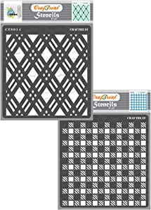 CrafTreat Geometric Stencils for Painting on Wood, Wall, Tile, Canvas, Paper, Fabric and Floor - Double Diamond and Shepherds Check - 2 Pcs - 6x6 Inches each - Reusable DIY Art and Craft Stencils