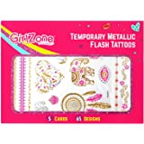 GirlZone: Metallic Flash Tattoos For Kids - Temporary Flash Tattoos - 5 Card Pack - 65 Designs. Best Christmas Birthday Present Gifts Idea For Girls Age 3 4 5 6 7 8 9 10 11 12+ years old