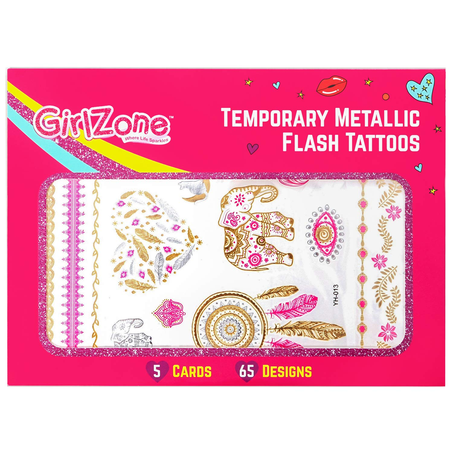GirlZone: Hypoallergen Glitzertattoo 65er Set - Temporäre Flash ...