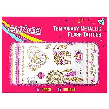 girlzone metallic flash tattoos for kids temporary flash tattoos 5 card pack