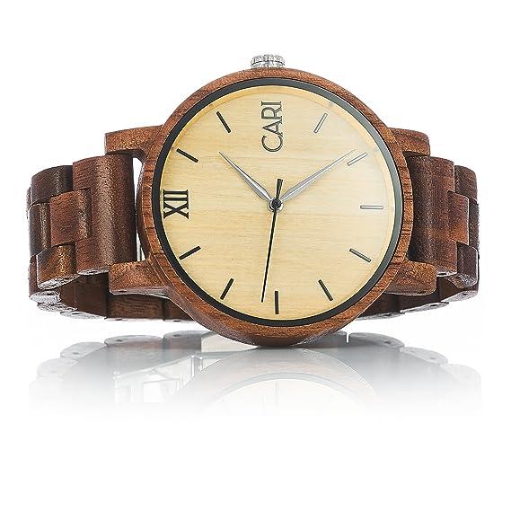 Cari Reloj para Hombre Movimiento Suizo con Correa de Madera de Nogal - Reloj Pulsera La Habana-061: Amazon.es: Relojes
