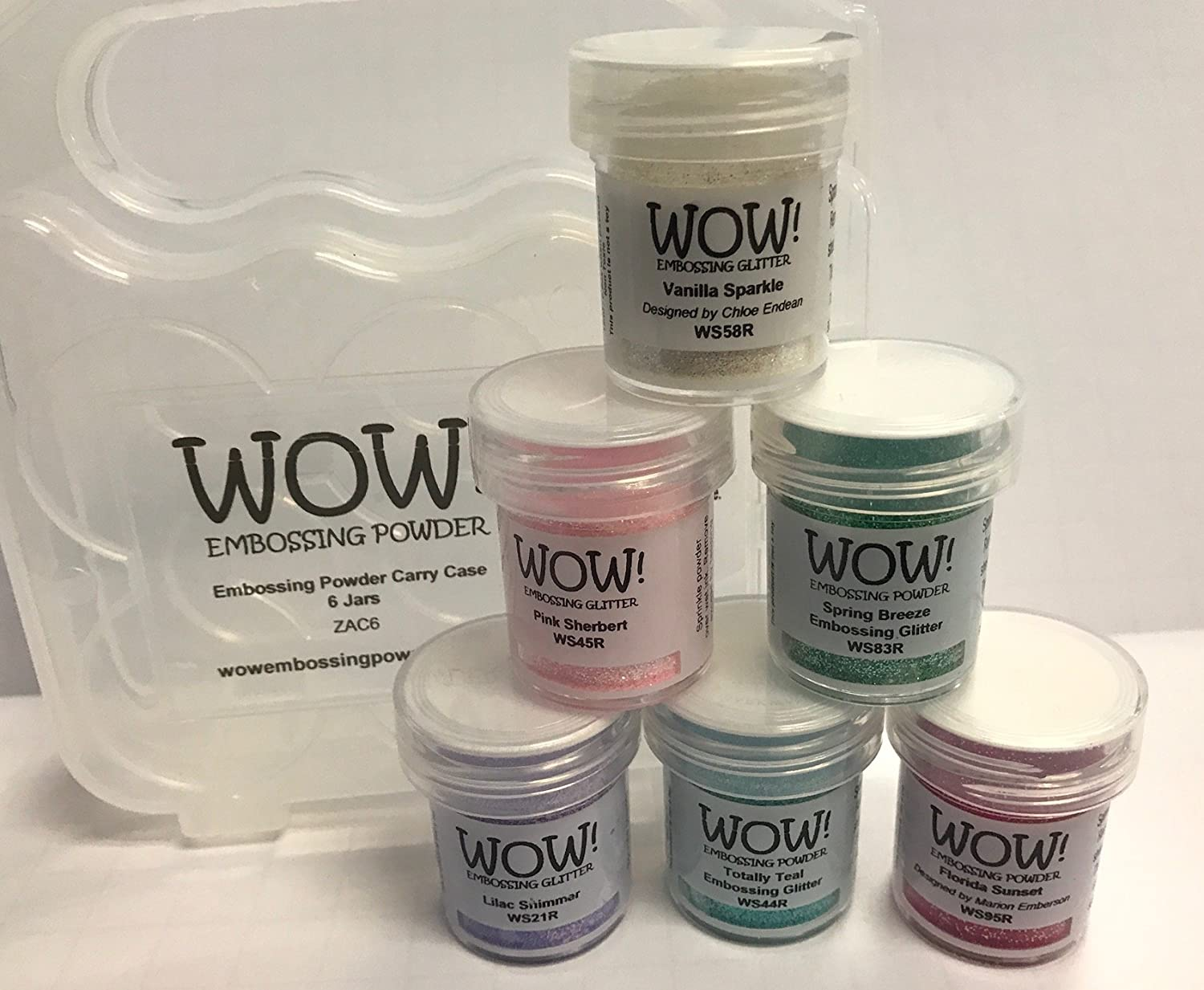 WOW! Embossing Powder and Glitter Sparkle in Pastel Colors 6 - Pack Kit and Clear Carrying Case - Bundle 7 Items WOW! USA Pastels ZAC6