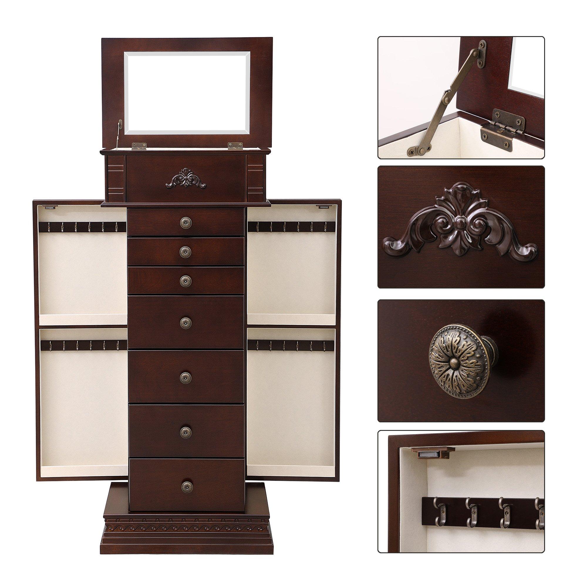 SONGMICS Large Jewelry Armoire Cabinet Standing Storage Chest Neckalce Organizer Dark Walnut UJJC14K by SONGMICS (Image #6)