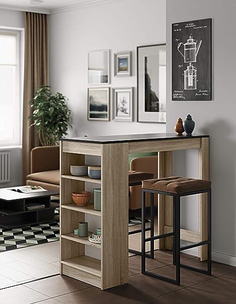 Symbiosis Table Bar Avec Rangements Panneaux De Particules Melamines Chêne Noir 115 X 50 X 102 7 Cm
