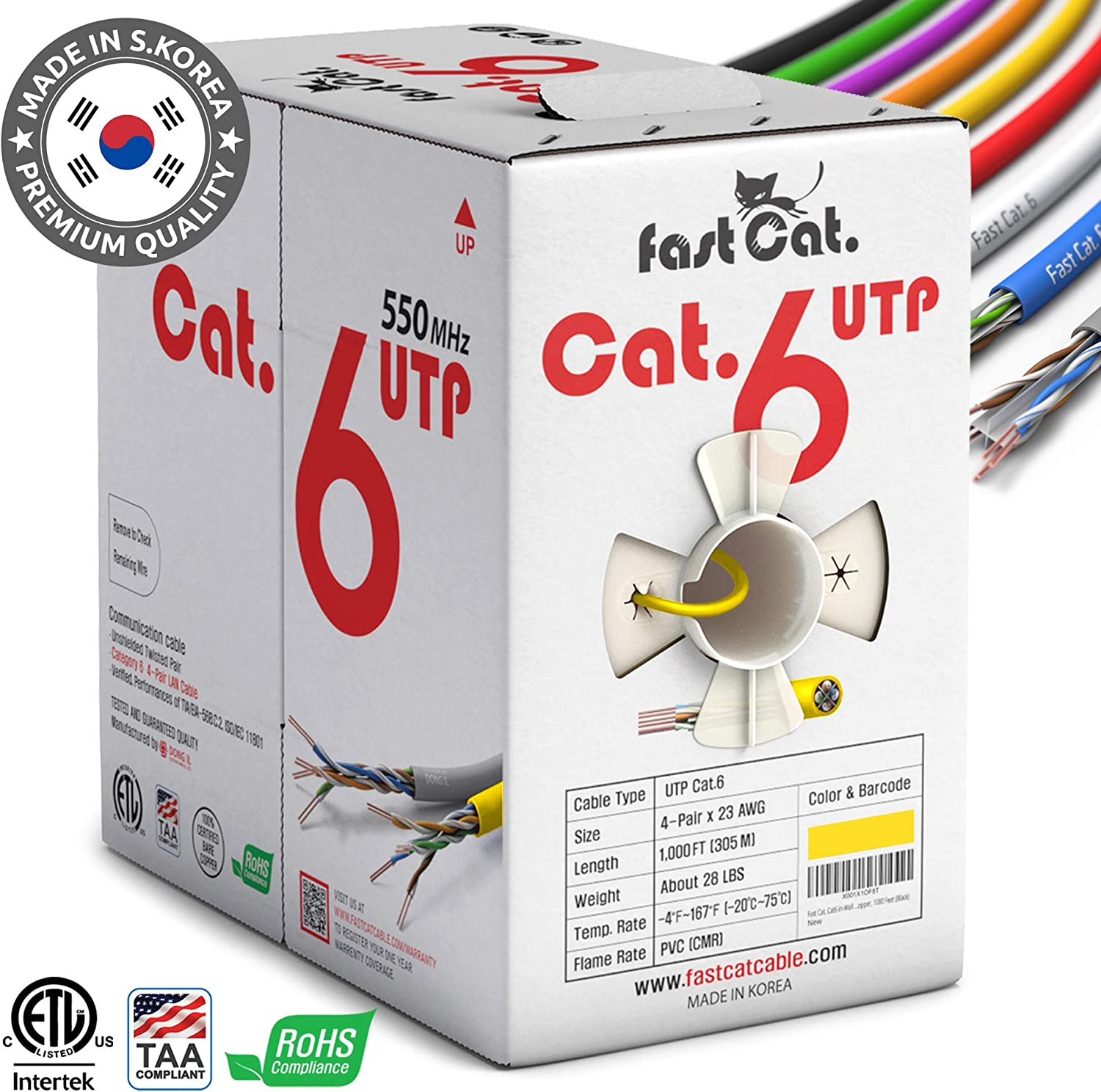 fast Cat. Cat6 Ethernet Cable 1000ft - Insulated Bare Copper Wire Internet Cable with Noise Reducing Cross Separator - 550MHZ / 10 Gigabit Speed UTP LAN Cable 1000 ft - CMR (Yellow)