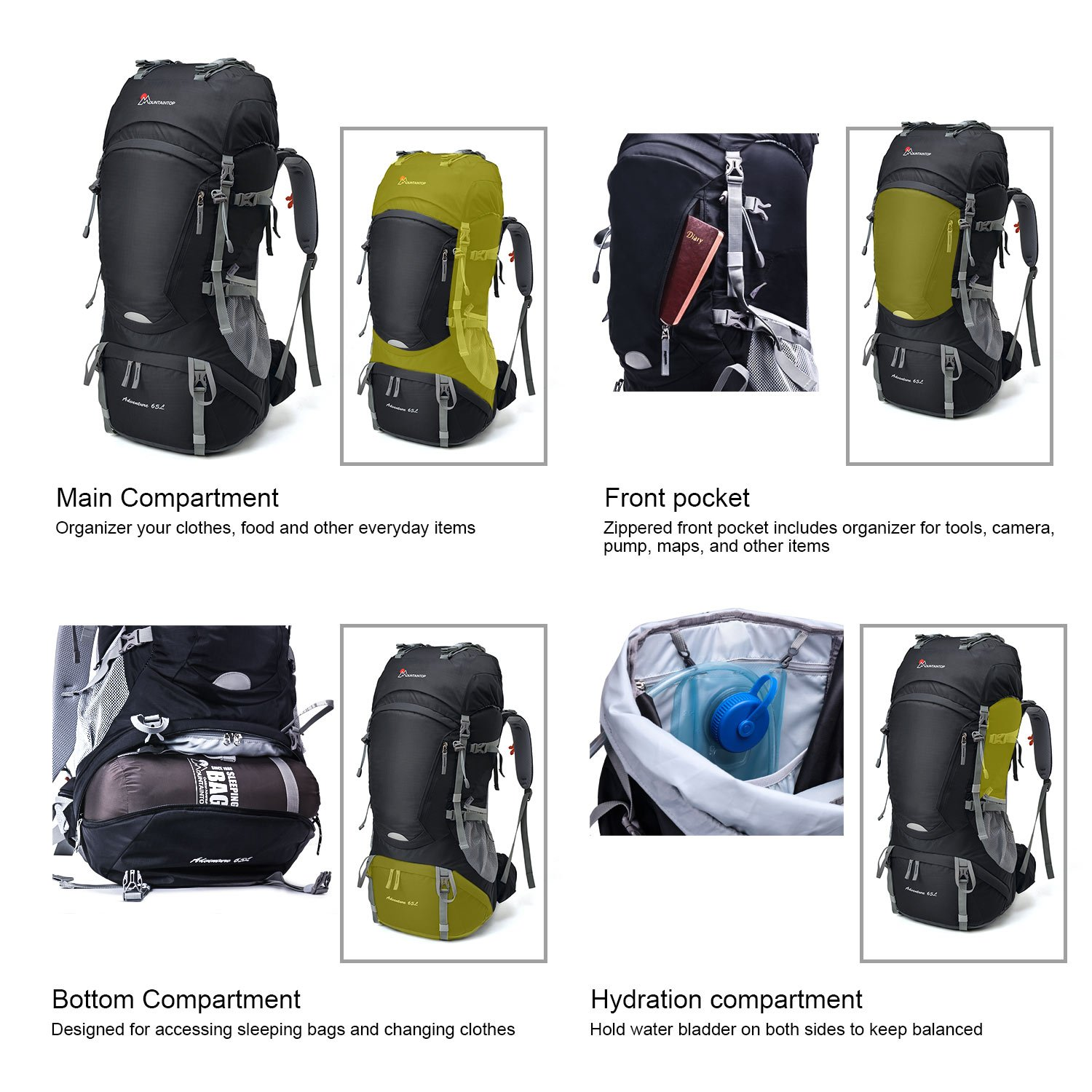 Mountaintop 65l 10l Internal Frame Hiking Backpack With Rain Cover ... db37660c4696e