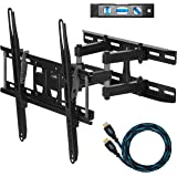 """Cheetah Mounts APDAM3B Dual Articulating Arm TV Wall Mount Bracket for 20-65"""" TVs up to VESA 400 and 115lbs, Mounts to Two 16"""" studs and includes a Twisted Veins 10' HDMI Cable and a 6"""" 3-Axis Magnetic Bubble Level"""