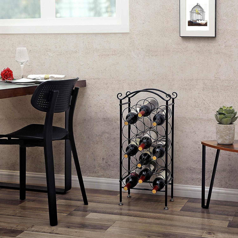 Floor Standing Bottle Shelf Wine Bottle Holder Songmics 15 Bottle Iron Wine Rack Adjustable Feet With 9 Cm Diameter Black Lsw02b Barware Ecog Wine Racks