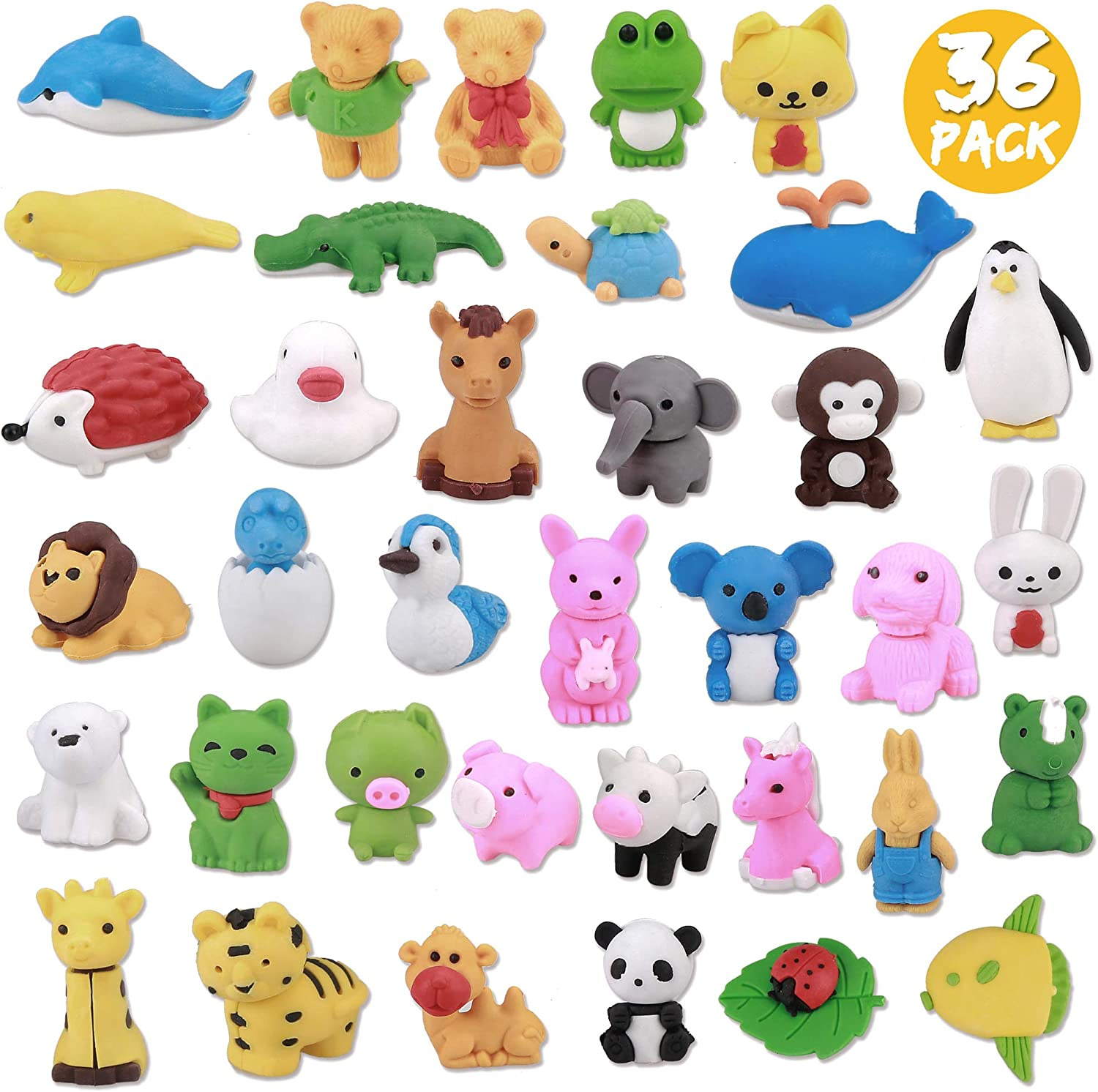 Greentime 36 Little Animal Erasers Bulk, Puzzle Toys Erasers Assembly Animals Erasers 3D Mini Erasers for Back-to-school Gifts Classroom Supplies Party Favors Games Prize Children's Day Gifts for Kids
