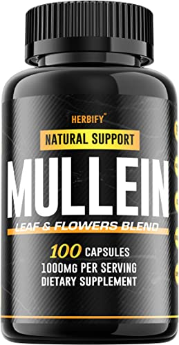 Mullein Leaf Capsules 1000mg, Mullein Lung Complex Verbascum Thapsus , Organic Mullein Lung Cleanse Herbal Supplement, 100 Capsules 100