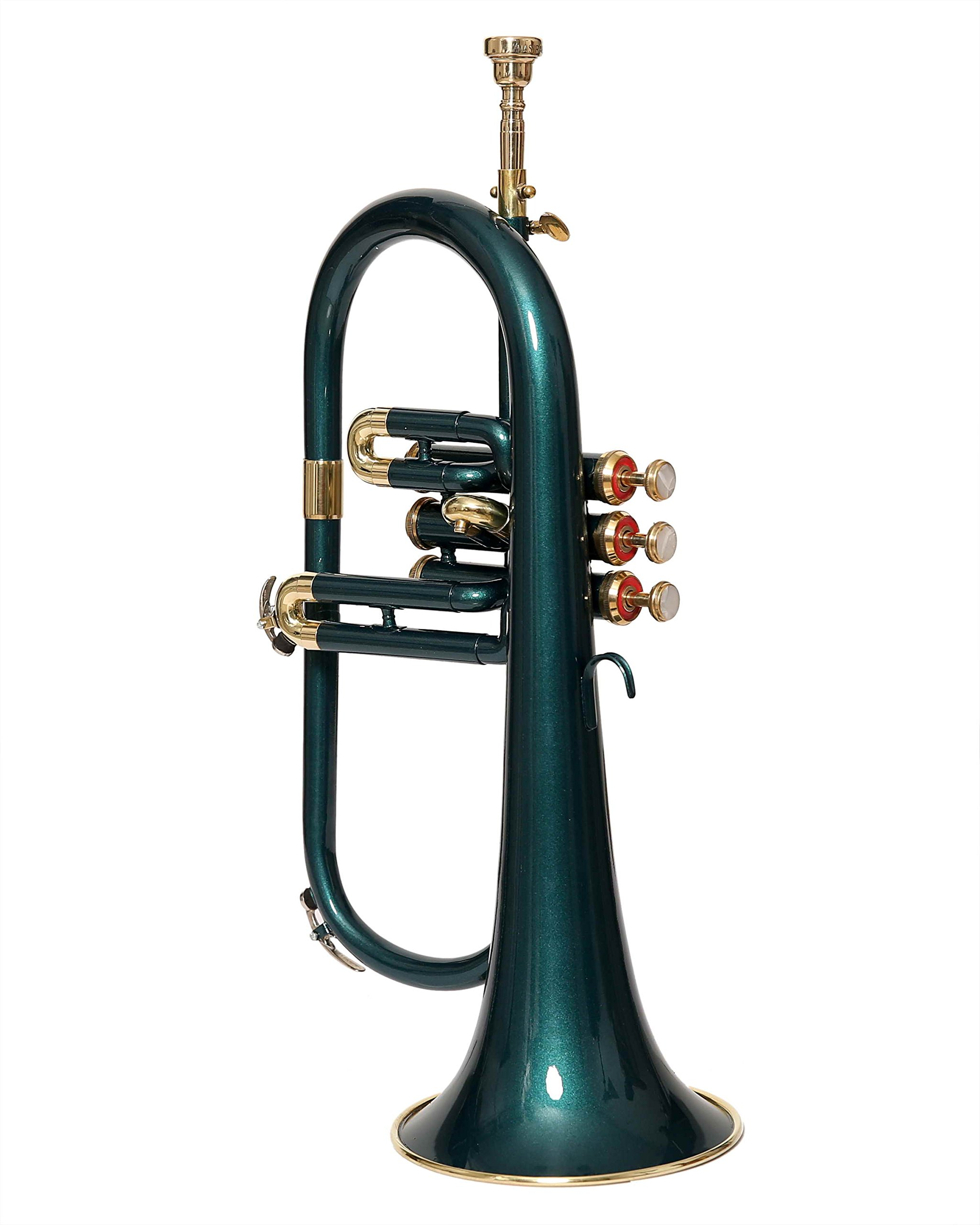 Moonflag eMusicals Flugel Horn Bb Pitch With Free Hard Case And Mouthpiece, Green Lacquered by NASIR ALI (Image #4)