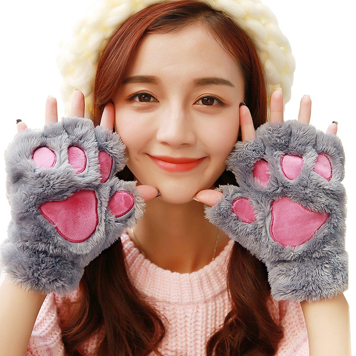 half finger, Beige Women Winter Cute Fluffy Bear Plush Paw Claw Gloves Soft Mittens