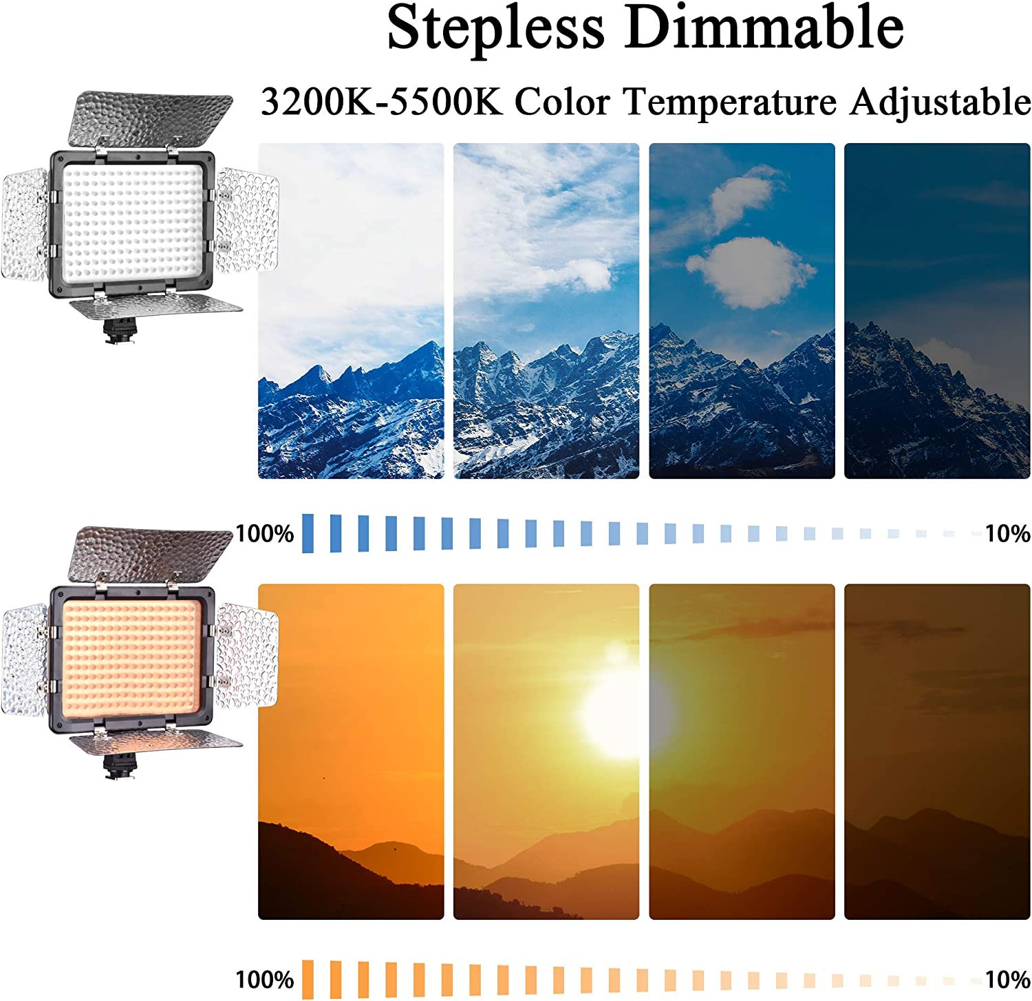 Rechargeable Batteries Dimmable 176 LED Panel Lighting Kit with 4.3 ft Light Stand Carring Bag for YouTube Studio Color Filters Emart LED Photo Video Light 2 Sets
