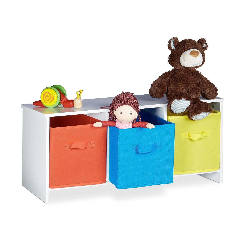 Relaxdays Kindersitzbank mit Stauraum ALBUS, bunte Stoffkörbe, Spielzeugtruhe zum Sitzen, Faltbare Stoffboxen, Spielzeugaufbewahrung, HxBxT: ca. 35,5 x 81 x 29 cm, weiß bunte Stoffkörbe weiß 10020355