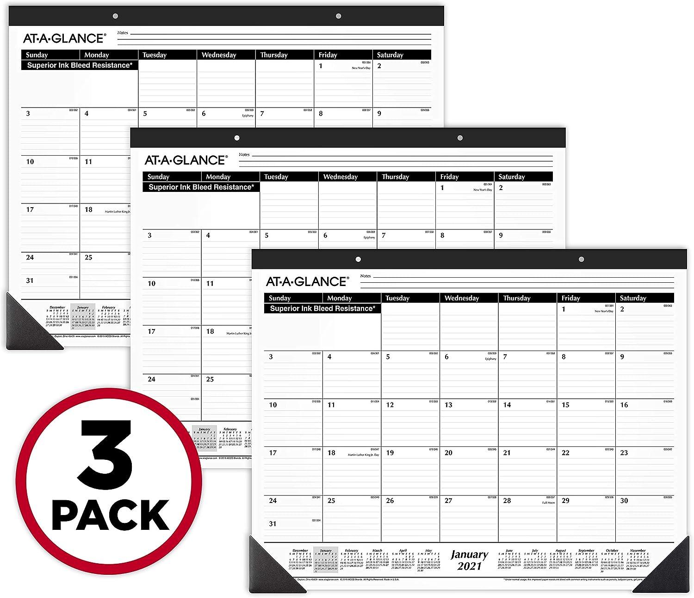 "2021 Desk Calendars by AT-A-GLANCE, Monthly Desk Pads, 21-3/4"" x 17"", Standard, Ruled Blocks, 3 Pack (AZSK2400)"