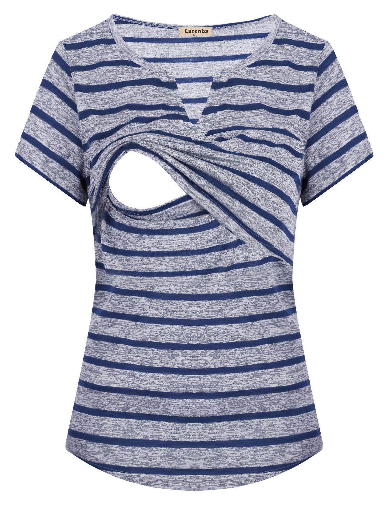 Larenba Nursing Pajama Top, Maternity Women Soft Flattering Cute Breastfeeding Blouse Stripe Nursing Sleep Shirt Functional Discrete Access Latched Mama(Blue,Medium)