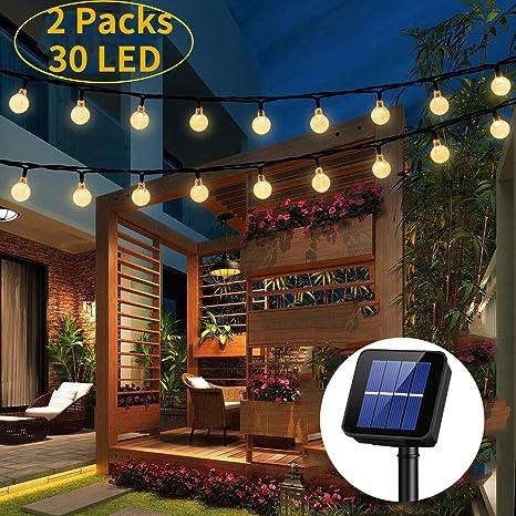 Guirlande Lumineuse Solaire Exterieur,OxyLED 2 Paquets 30 LED Jardin Patio  Extérieur Guirlandes,Lumières D\'intérieur/Extérieurs Extérieurs,Grand ...