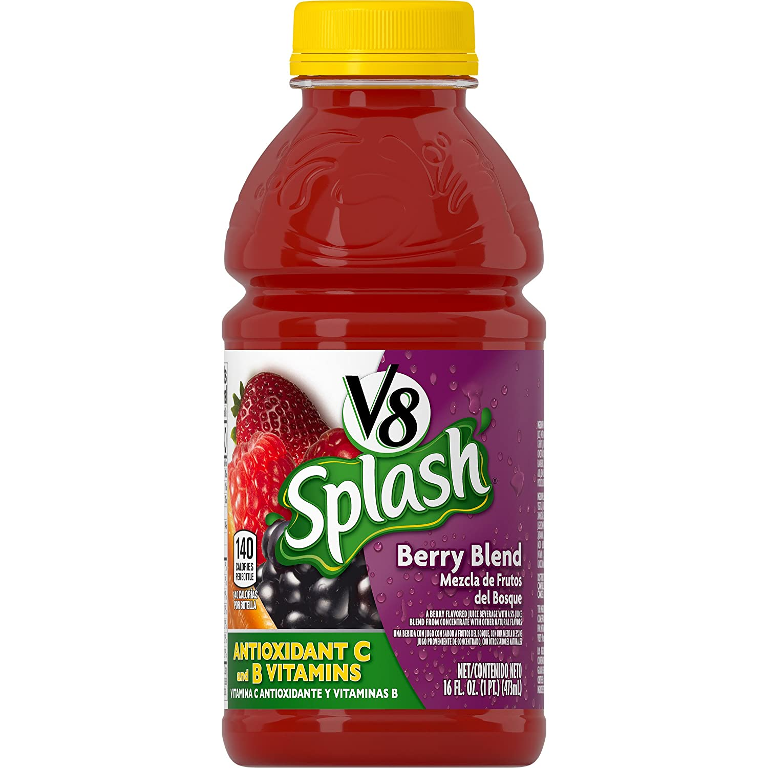 Amazon.com : V8 Splash Berry Blend, 16 oz. Bottle (Pack of 12) : Grocery & Gourmet Food