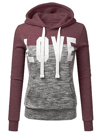 Doublju Basic Lightweight Pullover Hoodie Sweatshirt For Women Brick Small