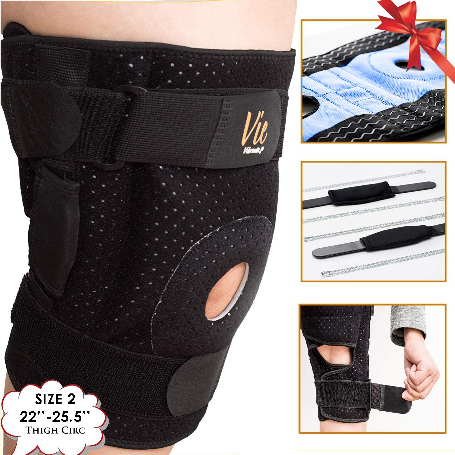 Hinged Knee Brace Plus Size - Newly Engineered Knee Braces with Enhancement on Flexibility, Extra Supportive, Non-Slip and Non Bulky - Wrap Around fit Larger Legs for Men Women 22-25.5 Vie Vibrante by VieVibrante