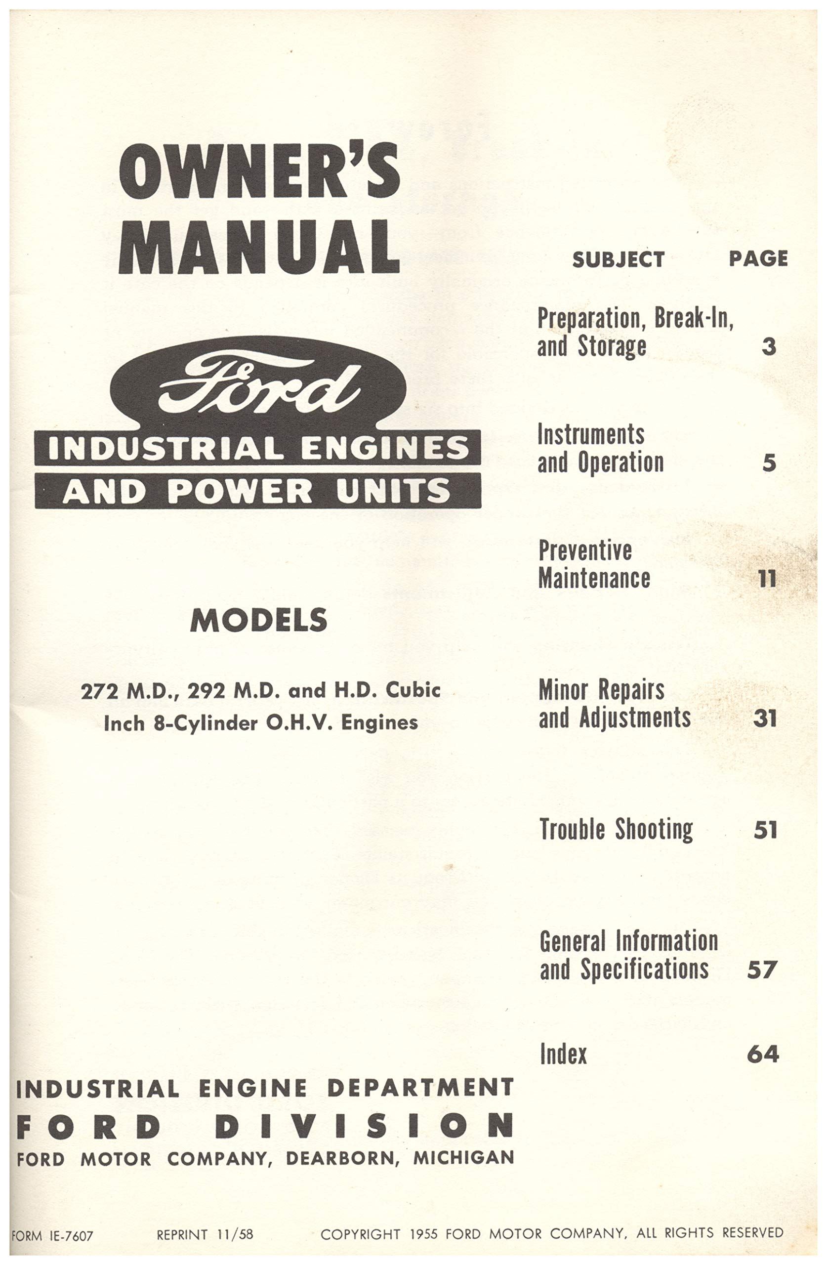 Ford Industrial Engines And Power Units: Industrial Engine