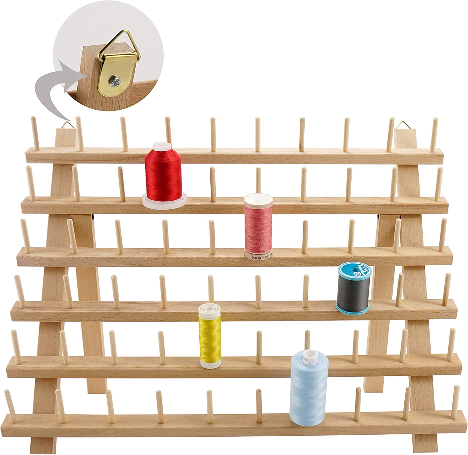 60 Spools 2 Pack SAND MINE Wooden Thread Rack Sewing and Embroidery Thread Holder