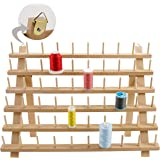New brothread 60 Spools Wooden Thread Rack/Thread Holder Organizer with Hanging Hooks for Embroidery Quilting and Sewing Thre
