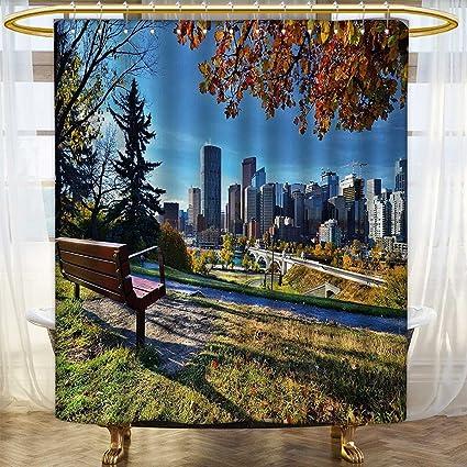 Amazon Com City Shower Curtains 3d Digital Printing Park