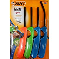BiC Multi-Purpose Lighter - 4 Lighter Value Pack with 1 Flexible Wand and 3 Fixed Wand