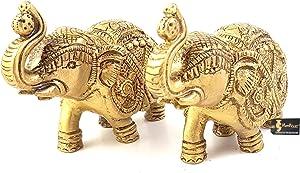 Two Moustaches Handmade Ethnic Indian Brass Elephant Pair Decor Showpiece