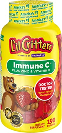 Lil Critters Kids Immune C Gummy Supplement: Vitamins C, D3 & Zinc for Immune Support, 60 or 120mg Vitamin C Per Serving, 190 Count (95-190 Day Supply), from America's No. 1 Kids Gummy Vitamin Brand