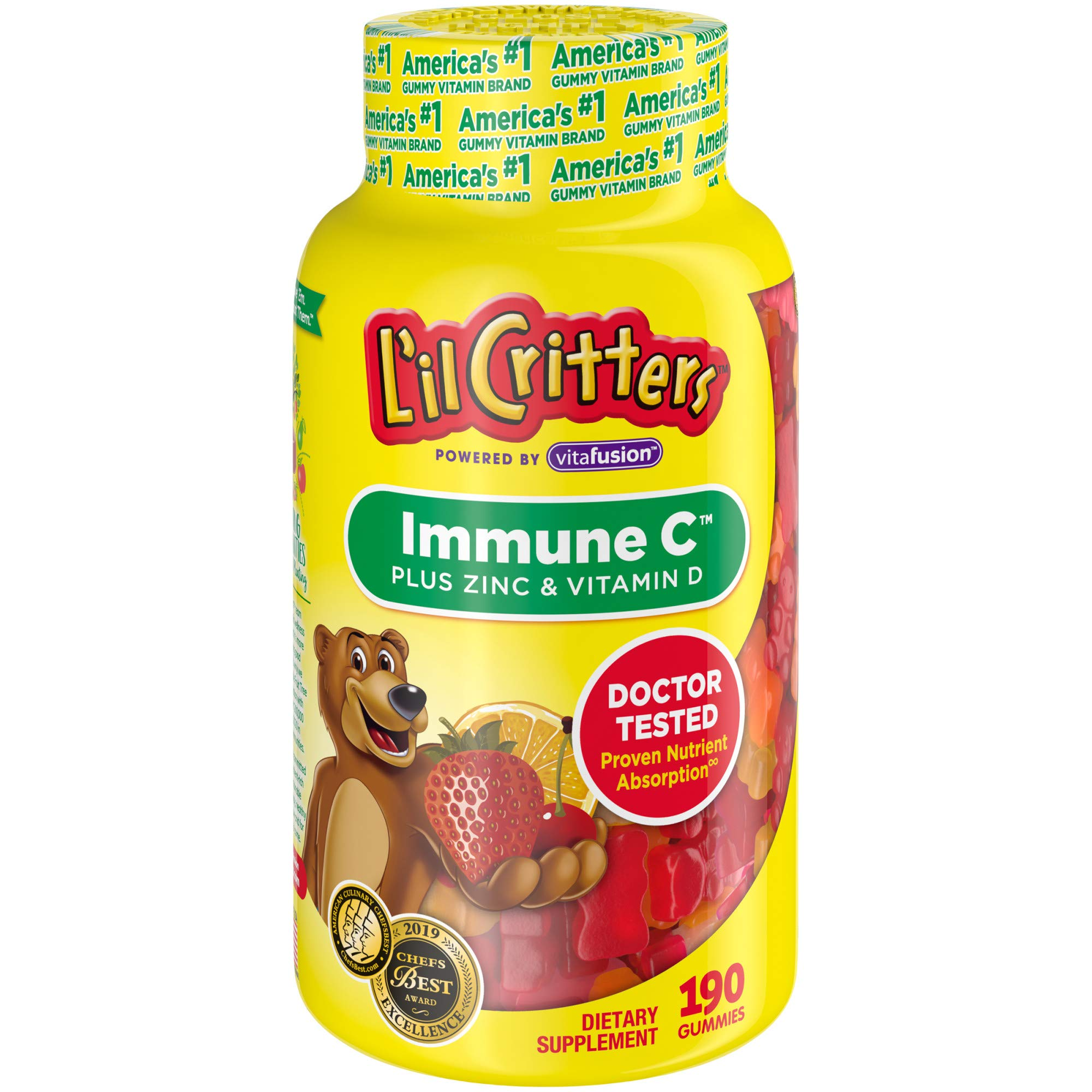 L'il Critters Kids Immune C Gummy Supplement: Vitamins C, D3 & Zinc for Immune Support, 60 or 120mg Vitamin C Per Serving, 190 Count (95-190 Day Supply), from America's No. 1 Kids Gummy Vitamin Brand