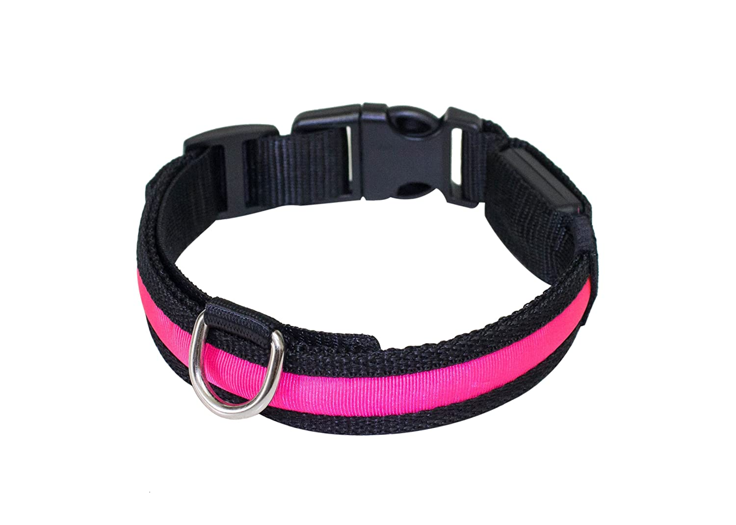 PRECORN Collar para perros luminoso'Zandoo' Collar LED en el color rosa. Tamaño M (40-50 cm)