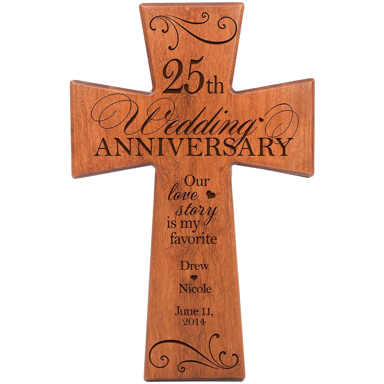 Amazon Personalized 25th Wedding Anniversary Cherry Wood Wall