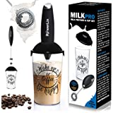 PowerLix Milk Frother Handheld Battery Operated Electric Foam Maker For Coffee, Latte, Frappe, Matcha, Drink Mixer With Stain