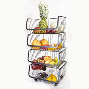 Rolling Stackable Wire Baskets Metal Utility Cart Storage Floor Standing Storage Bins Fruit Vegetable Snacks Pantry Organizer with wheels for Kitchen Bathroom (4-Tier Basket Set)