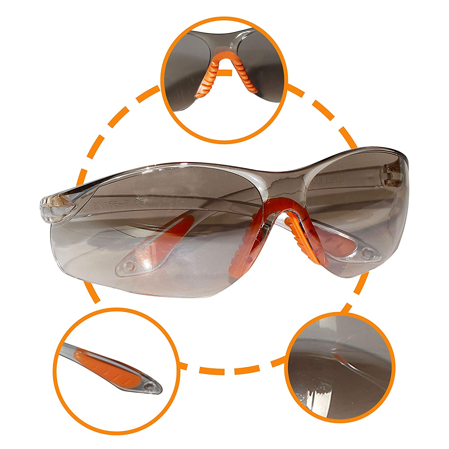 24 Pack Protective Glasses Safety Glasses Safety Goggles Eyewear Eyeglasses for Eye Protection with Clear Plastic Lenses and Featuring Rubber Nose and Ear Grips for Comfortable Fit