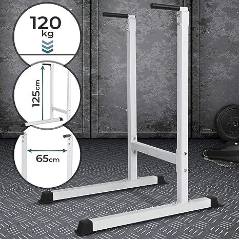 Physionics Estación Dip de Musculación - Empuñaduras Acolchadas, para Tríceps/Pectorales/Hombros/Espalda/Abdominales/Piernas (Máx. 120 kg) - Barras ...