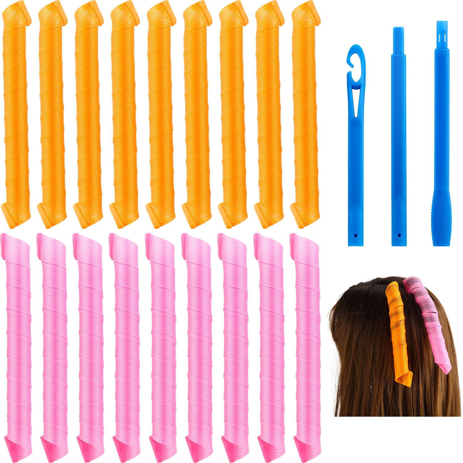 18 Pieces Hair Curlers Spiral Curls Magic Styling Kit No Heat Hair Curlers Colored Hair Rollers with Styling Hook Tools for Long Hair (65 cm)