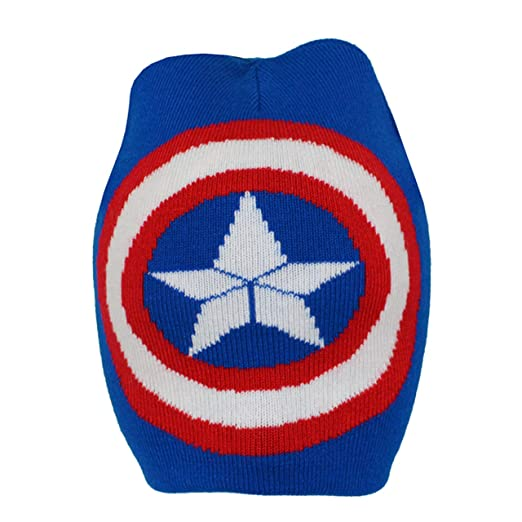 Captain America Childrens Boys Official Logo Roll Down Beanie Hat (Junior)  (Blue 815114cddec7
