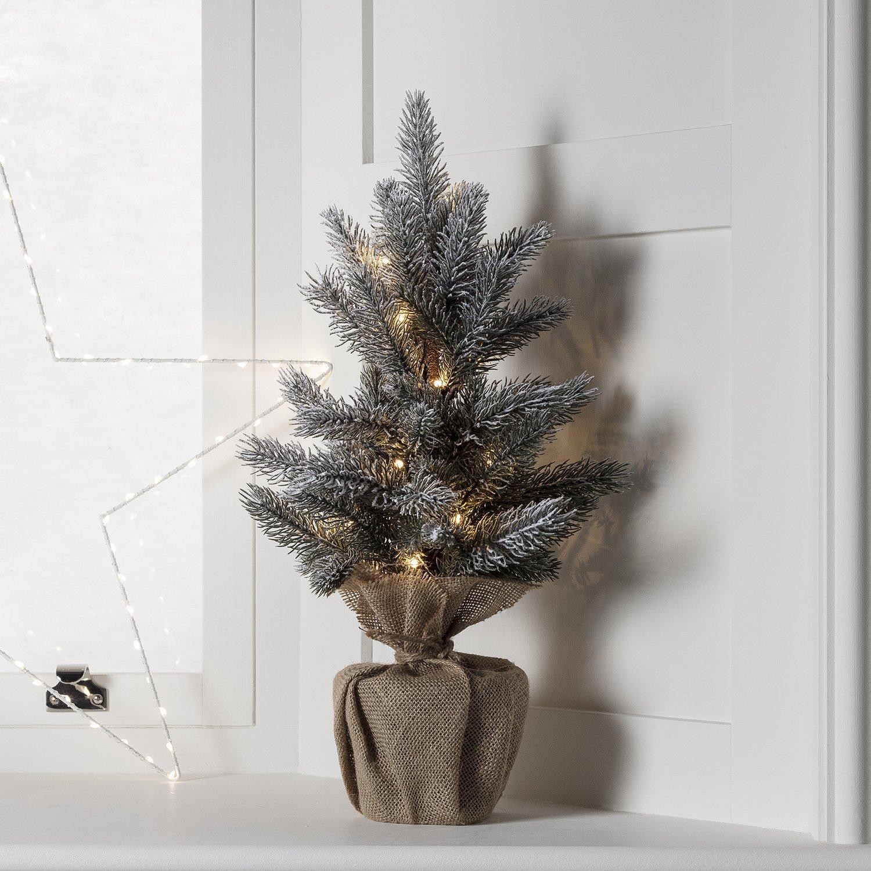 Lights4fun Albero di Natale di 53cm con 15 LED Bianco Caldo a Pile