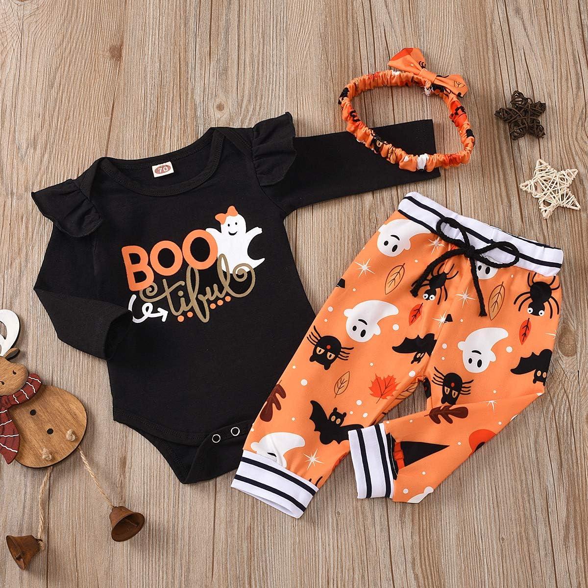 Pants Happy Halloween Newborn Baby Boy Girl Clothes Long Sleeve Mummy Printed Romper Hats 3Pcs Outfits Set