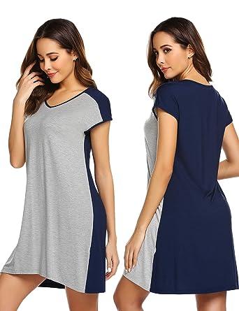 ab1e96e5d7 Damen Nachthemd Schlafanzug Kurz Pyjama Hausanzug Sexy Negligee Nachtwäsche  für Frauen Mädchen Sommer
