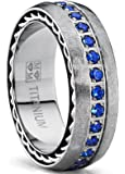 Brushed Titanium Wedding Band Ring With Stainless Cable Inlay and Blue Cubic Zirconia CZ